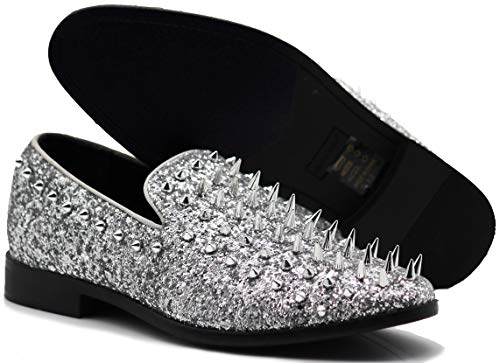 SPK16 Men's Vintage Spike Dress Loafers Slip On Fashion Shoes Classic...