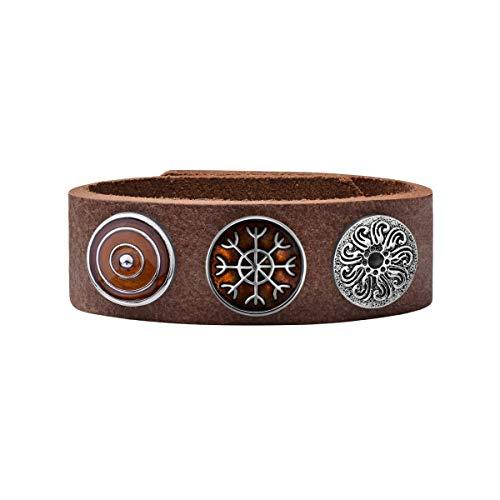 Quiges Damen 18mm Druckknopf Armband aus Leder Kastanienbraun mit Braune/Versilberte Click Buttons 18-20cm