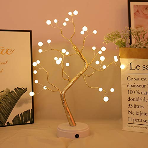 Tabletop Bonsai Tree Light with 36 LED Pearl Lights-USB/Battery Touch Switch, Fairy Spirit Light Tree Celtic Serenity, Artificial Lighted Tree Lamp for Living Room Home Decorations, Home Decor Gifts