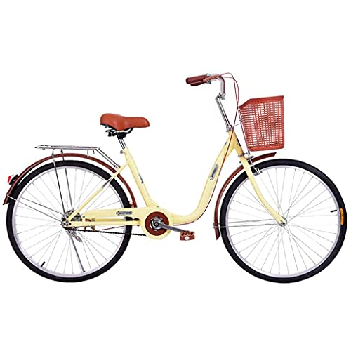 Y DWAYNE Bicicleta de ocio de la ciudad de 24 pulgadas de las mujeres para los adultos,Con marco delantero,Marco de acero de alto carbono Carretera Commuter Carrito de la compra