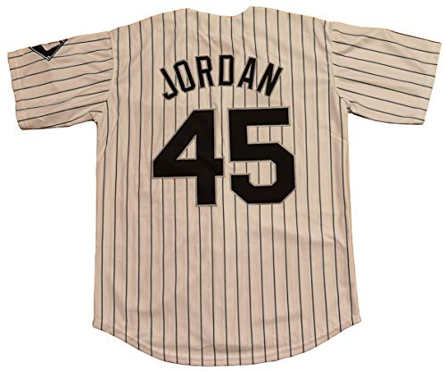LTD Jordan #45 Barons Baseball Men Jersey Stitched (White_Stripes, Medium)