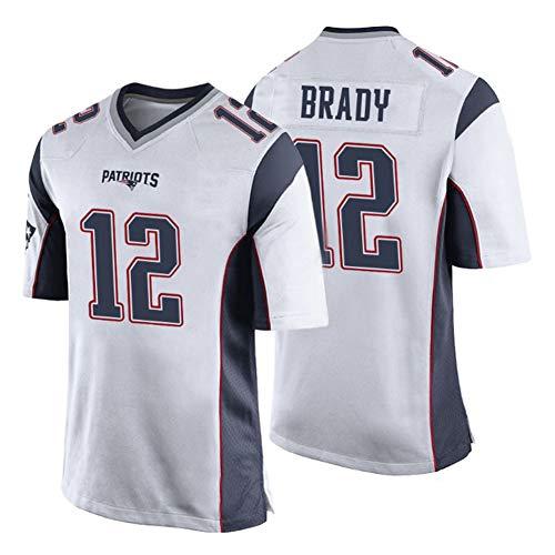 Rugby-Trikot für Herren Patriots Brady 12# Sweatshirt T-Shirts, Anwendbare Anlässe: Männer Athleten Wettkampf Training Outdoor Bestes Geschenk Polyesterfaser schnelltrocknend Gr. L, weiß