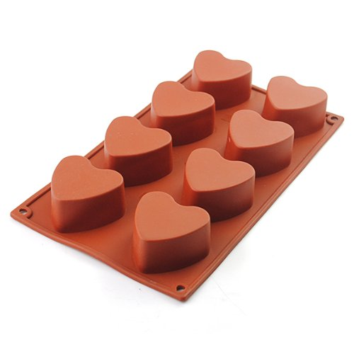 2win2buy 8-Cavity Heart-shaped Silicone Pudding Chocolate Mold Cupcake 3D Baking Cake Pan