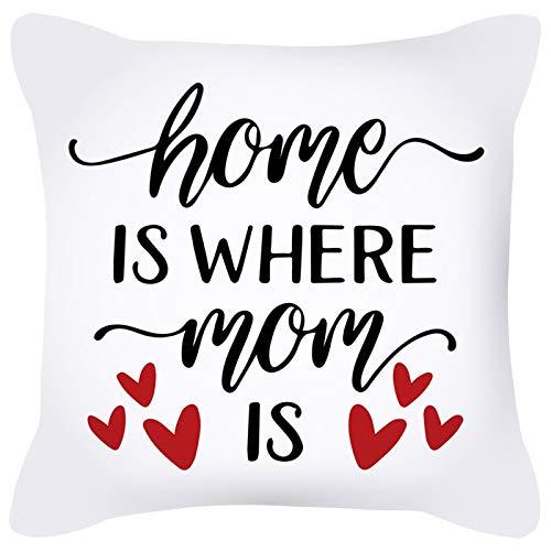 KnBoB Funda de Cojin Home Is Where Mom Is Corazón 45 x 45 cm Blanco Negro Rojo Poliéster Estilo 14