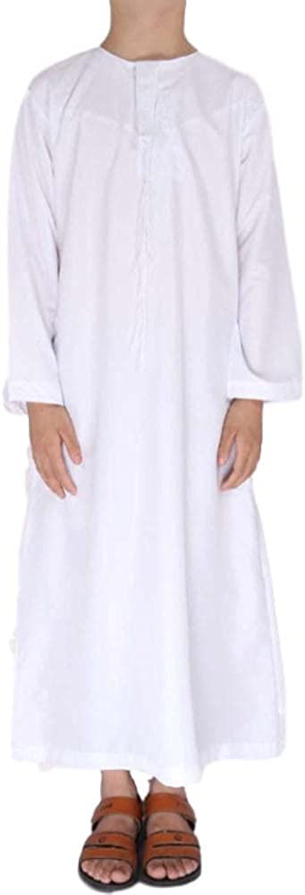 Muslim Boy Long Sleeve Robe Arab Dubai Islamic Teen Thobe Kaftan Maxi Robe