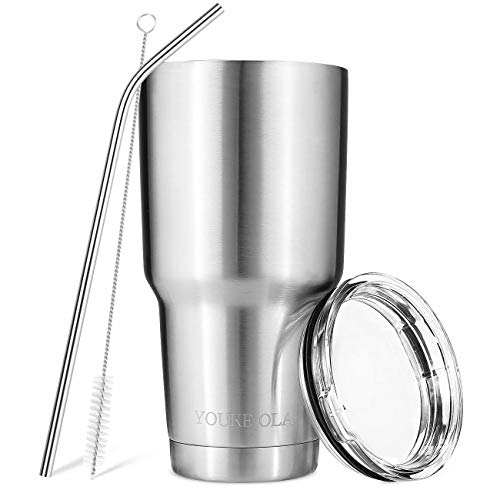 Stainless Steel Tumbler 30oz - Vacuum Insulated Tumbler Coffee Cup Double Wall Large Travel Mug with Lid, Straw, Brush, Gift Box Set (Silver)
