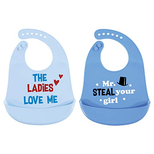 Hudson Baby Unisex Baby Silicone Bibs, Mr Steal Your Girl, One Size