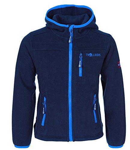 Trollkids Kinder Fleece-Jacke Stavanger mit Kapuze, Marineblau / Hellblau, Größe 140