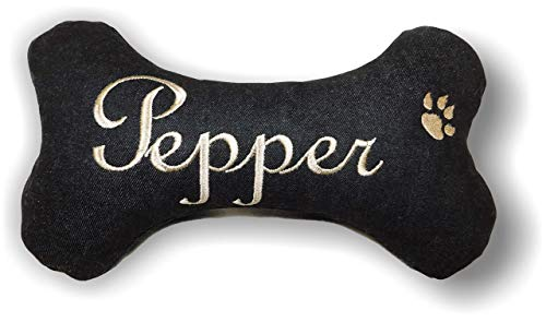 LunaChild Handmade Hunde Spielzeug natürliche Materialien Kissen Knochen Hundeknochen Quietscher schwarz bestickt mit Name Wunschname Unikat Geschenk personalisiert XXS XS S M L XL oder XXL