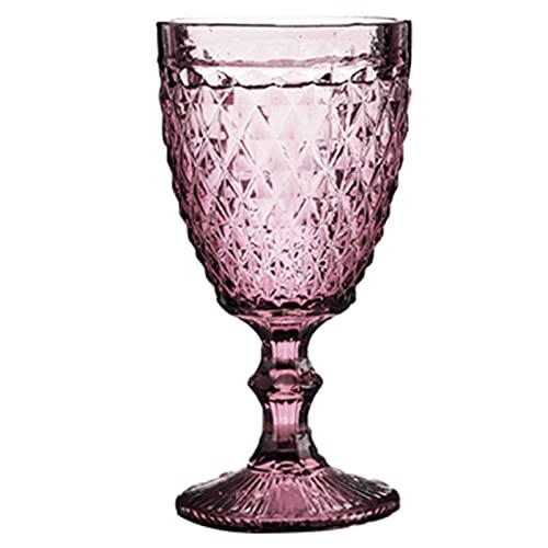 Copa de copa de vino Relieve de vintage retro Taza de vino tinto 300 ml Grabado de grabado Jugo Jugo de bebida Vidrios Champagne Cubiletas surtidas (Capacity : 240ml, Color : Diamond Red)