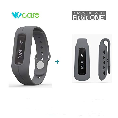 Wocase Twin (OneBand + One Clip)Fitbit One Zubehör-Armband-Armband-Sammlung (Twin  Dunkelgrau,Lost Proof) für Fitbit One Activity und Schlaf Tracker