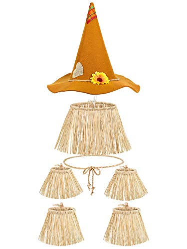 7 Pieces Scarecrow Costume Set Include Raffia Scarecrow Straw Kit, Scarecrow Hat, Cord Ties Harvest Day Costume for Halloween Party Accessory