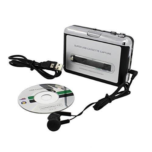 USB Cassette to MP3 Converter Capture, Portable Audio Tape-to-MP3 Player Switcher Converter