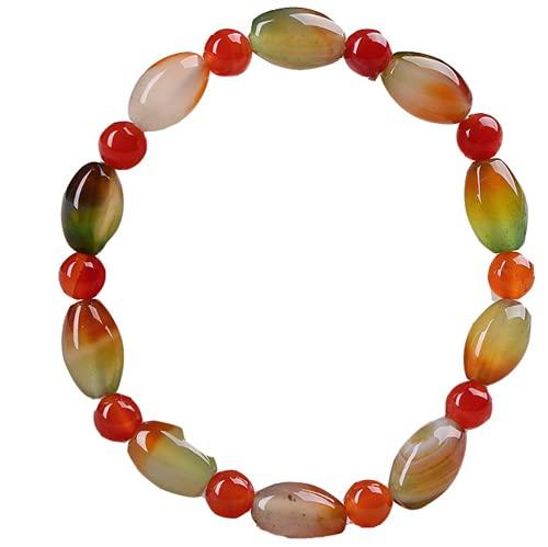 PAYNAN Pulsera elástica de perlas chinas de ágata natural joyería jadeita moda amuleto de mujer afortunada