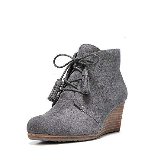 Dr. Scholl's Shoes Women's Dakota Boot, Dark Grey Microfiber Suede, 8 M US