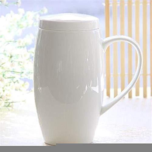 Creative Cup 720Ml, Bone China Mugga Mug, Termo de tapas de porcelana blanca lisa, Mighty Tea Mug con tapa, Jarra de cerveza, Vientre divertido diseñado