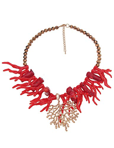 Leslii Kette Damen Koralle Korallenriff Coralle kurze Damenkette Halskette roter Modeschmuck Statement Collier in Gold Rot 47cm