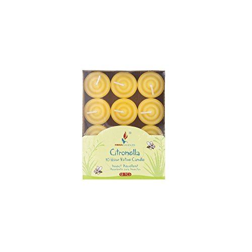 Mega Candles 12 pcs Citronella Votive Candle, Hand Poured Paraffin Wax Candles 8 Hours Candle, Bug Repellent Candles for Indoor & Outdoor Use, Everyday Candles for Mosquitoes & Insects