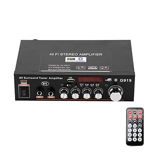 Akozon Amplificador de Potencia estéreo inalámbrico Bluetooth USB/FM Digital Inteligente con Mando a Distancia Enchufe de la UE 220 V