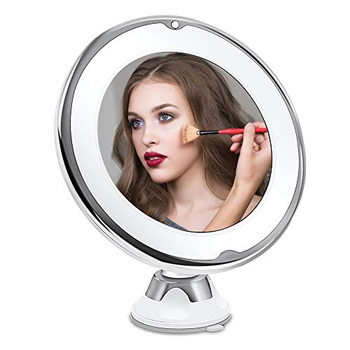 ATopoler Miroir Grossissant x10 Miroir Maquillage de Voyage Lumineux LED avec Ventouse Rotation à 360° Miroir Cosmétique Portable pour Salle de Bain