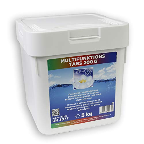 Paradies Pool GmbH Seerose Multifunktions Tabs 200 g 5 kg Quattro Tabletten 4-Fach Wirkung Chlor Algenschutz Flockungsmittel pH-Stabilisator