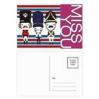 カラフルな兵士の英国のランドマークの旗マークイラストパターン ポストカードセットサンクスカード郵送側20個ミス