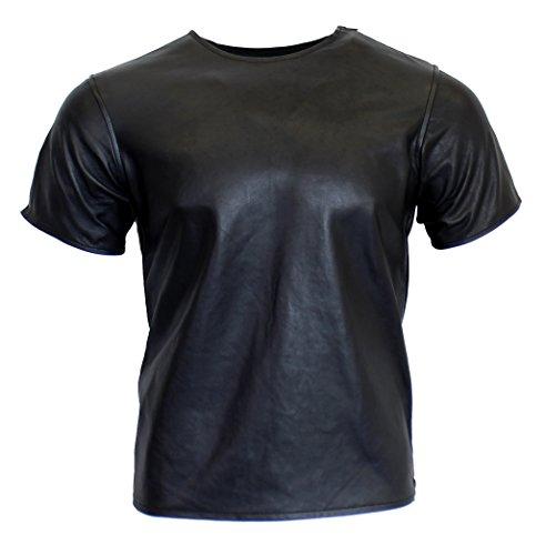 RICANO Mens T-Shirt, Herren Lederhemd, Lamm Nappa Echtleder (schwarz) (M)