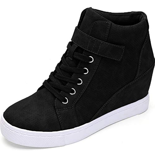 Athlefit Women's Lace Up Wedge Sneakers High Top Fashion Sneakers Ankle Booties Size 8 Black