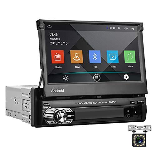 Android 1 DIN Radio de Coche GPS CAMECHO 7  Pantalla táctil capacitiva desplegable Bluetooth Radio FM Navegación WiFi Enlace Espejo para teléfono Android iOS + Cámara de visión Trasera