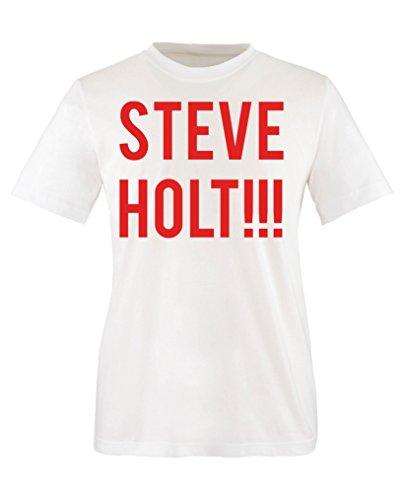Comedy Shirts Steve Holt!!! T-shirt à col rond pour fille 100 % coton - Blanc - 12 ans