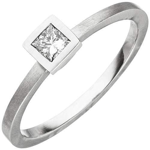 Ring aus 950 Platin mattiert mit Diamant in Princess-Schliff 0,20ct. Damen, Ringgröße:Innenumfang 56mm ~ Ø17.8mm