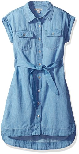 Calvin Klein Big Girls' Denim Shirtdress, Chambray, Large (12/14)