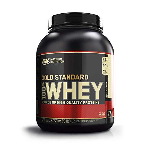 Optimum Nutrition ON Gold Standard Whey Protein Pulver, Eiweißpulver zum Muskelaufbau, natürlich enthaltene BCAA und Glutamin, Vanilla Ice Cream, 77 Portionen, 2,27kg, Verpackung kann Variieren
