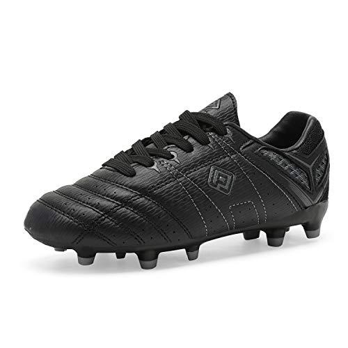 DREAM PAIRS Chłopcy dziewczęta piłka nożna korki buty do futbolu (małe dziecko/duże dziecko), - Czarny szary - 27 EU