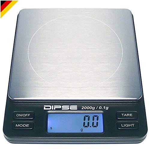 Dipse Digitale Laborwaage TP-2000 x 0,1 - Feinwaage mit 0,1g genauer Auflösung Digitalwaage bis 2000g / 2 kg Wägebereich 2000 x 0,1g, Farbe Schwarz