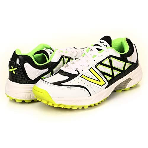 KD Vector Cricket-Schuhe mit Gummi-Spikes, Atomic Pro, Hockey, Sport, Stollen für drinnen und draußen, Trekkingschuhe, (Weiß/Schwarz/Grün), 41 EU