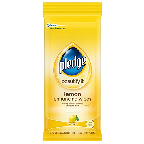 Pledge Multi-Surface Furniture Polish Wipes, Works on Wood, Granite, and Leather, Cleans and Protects, Lemon, Pack Of 2 - (48 Total Wipes)