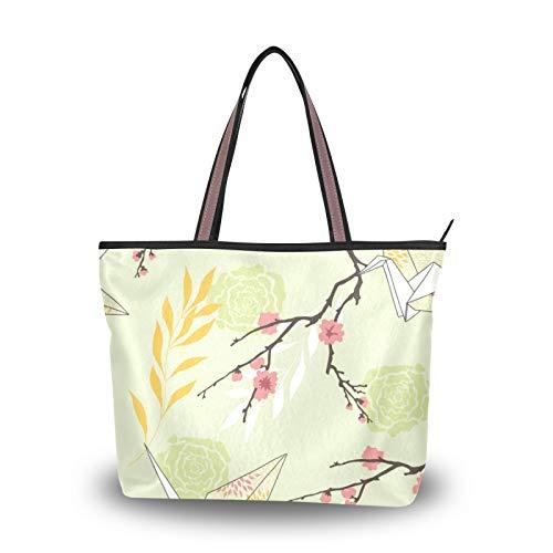 NaiiaN Bolsos Bolsos de hombro Rose Sakura Origami Crane Retro Art Purse Shopping Tote Bag Correa liviana para mujeres niñas estudiantes