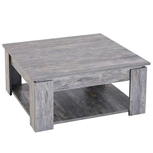 Homcom salontafel Basso Moderno 2 niveaus van hout met betoneffect 80 x 80 x 36 cm