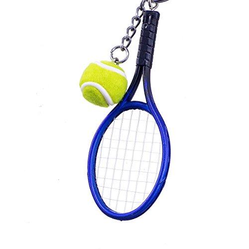 """nanomondo Schlüsselanhänger """"Tennisball mit Schläger Blau"""" aus Kunststoff N1102"""