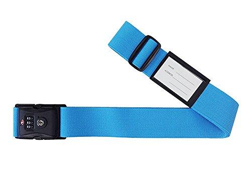 日本製 TSAロック 付 スーツケースベルト パステルカラー≪ ブルー≫ 3桁 ダイヤルロック 検査開錠表示付き しなやかベルト使用