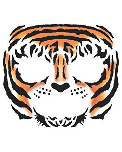 Horror-Shop Face Tattoo Tiger als geniales Make-up für Halloween und Fasching