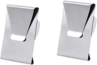 Silver Stainless Steel Slim Double Sided Money Clip Credit Card Holder 2 Pack