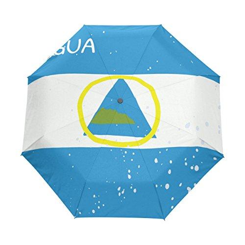 Parasol antirayos UV con Bandera de Nicaragua Envejecida, Resistente al Agua, Resistente al Viento, 3 Paraguas Plegable con Cierre automático