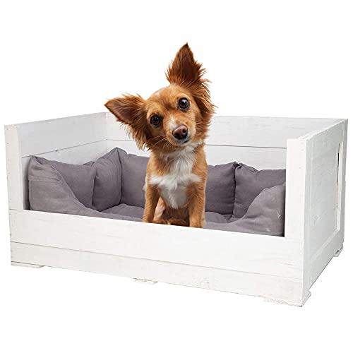 Obstkisten-online 1x weiße HOLZKISTE inklusive grauem Stoffbett - NEU - 90x57x45cm - Hund, personalisierbar Dank Lackierung mit Tafelfarbe, Hundekorb