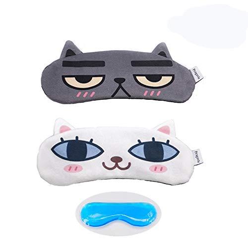 [2 PACK] Pragovle Cat&Dog Cute Sleep Eye Mask for sleeping, Super Soft and Light for Insomnia Puffy Eyes,Blindfold Eyeshade for Men and Women kid