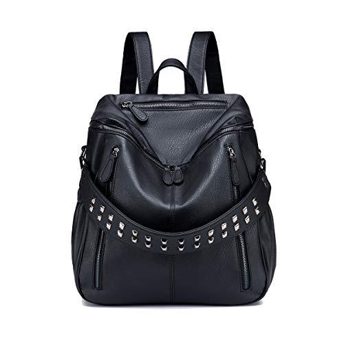 Tisdaini Bolsos mochila mujer moda casual marca colegio viaje escolares Bolsos bandolera ES917 Negro