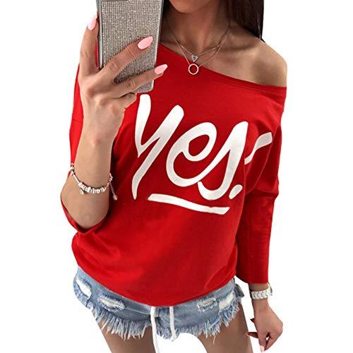 Camisas Mujer Primavera Otoño Mangas Modernas Impresión Carta 3/4 Casual Shirts Elegante Hermoso Pin-Up Sin Tirantes Tshirts Fashion Fiesta Informales Slim Fit Moda Joven Blusa Tops
