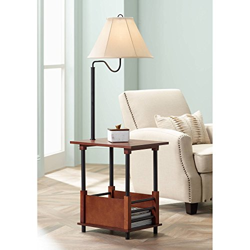 Mission Style Swing Arm Floor Lamp With End Table