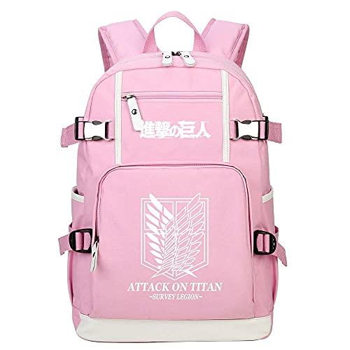 ZXXFR Mochila bolsos Anime Attack on Titan mochila para adolescentes rosa senderismo portatil ordenador instituto escolares juveniles bolso